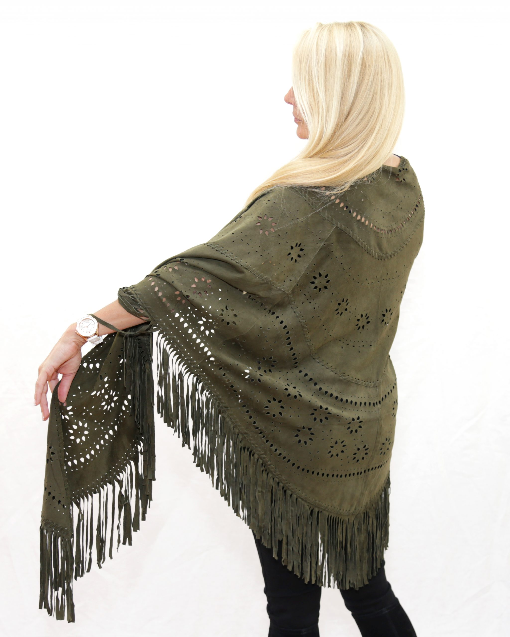Army Green Perforated Suede Poncho