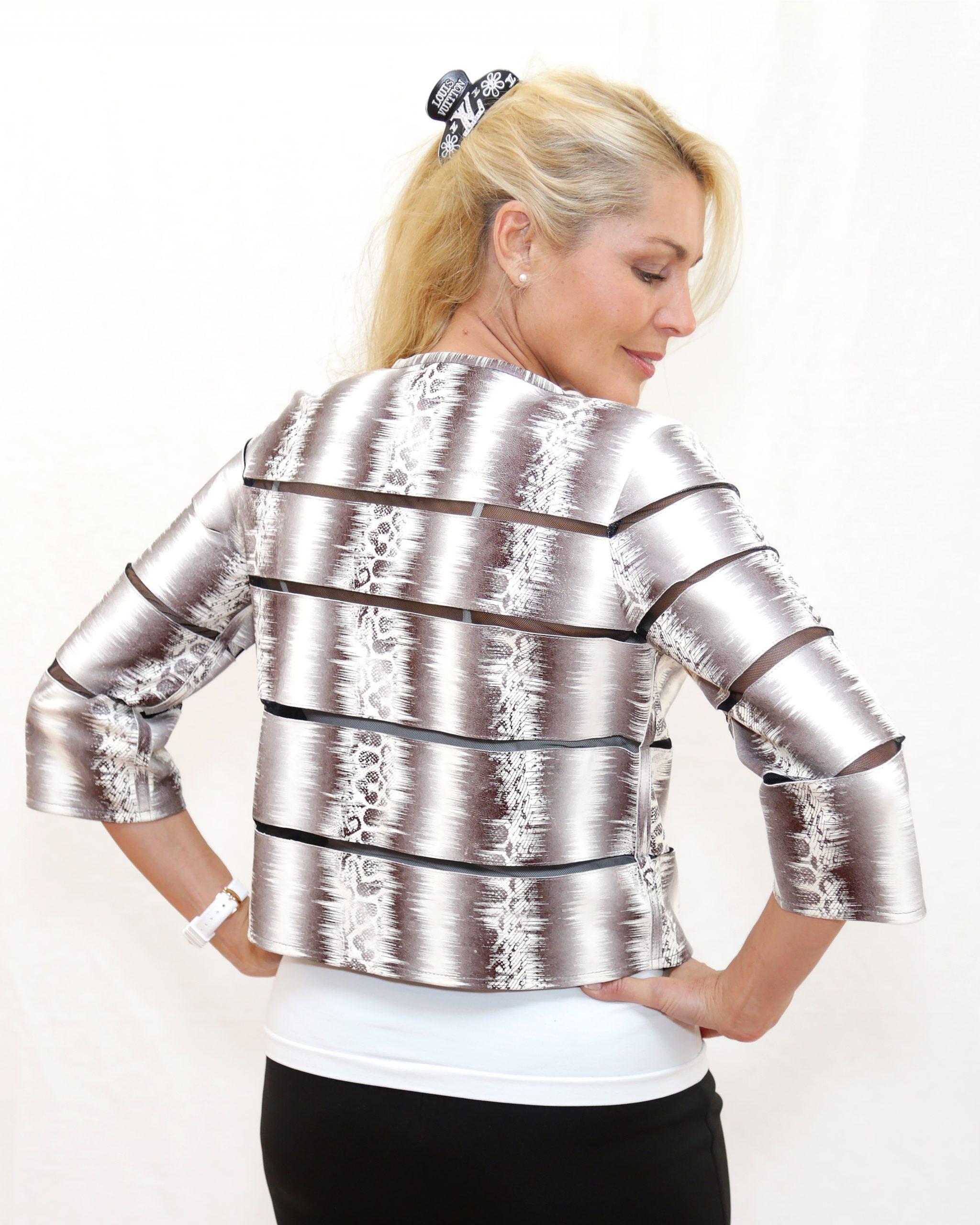 Audrey Hepburn Leather Short Jacket Snake Skin