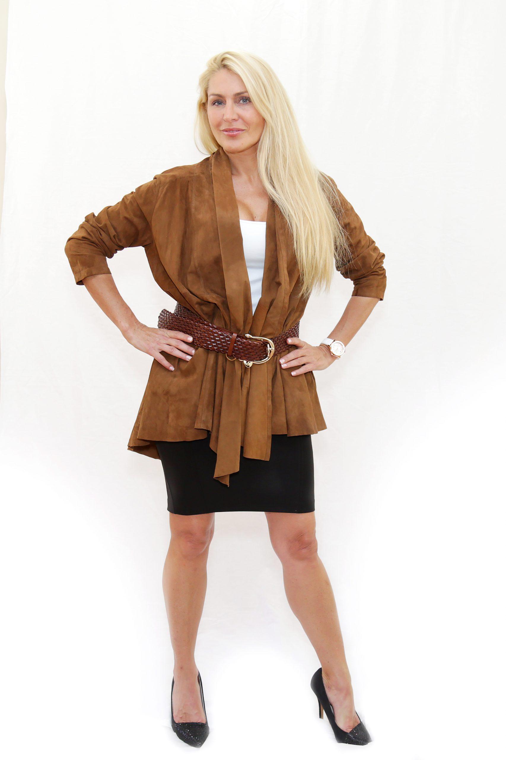 Brown Suede Wrap Jacket