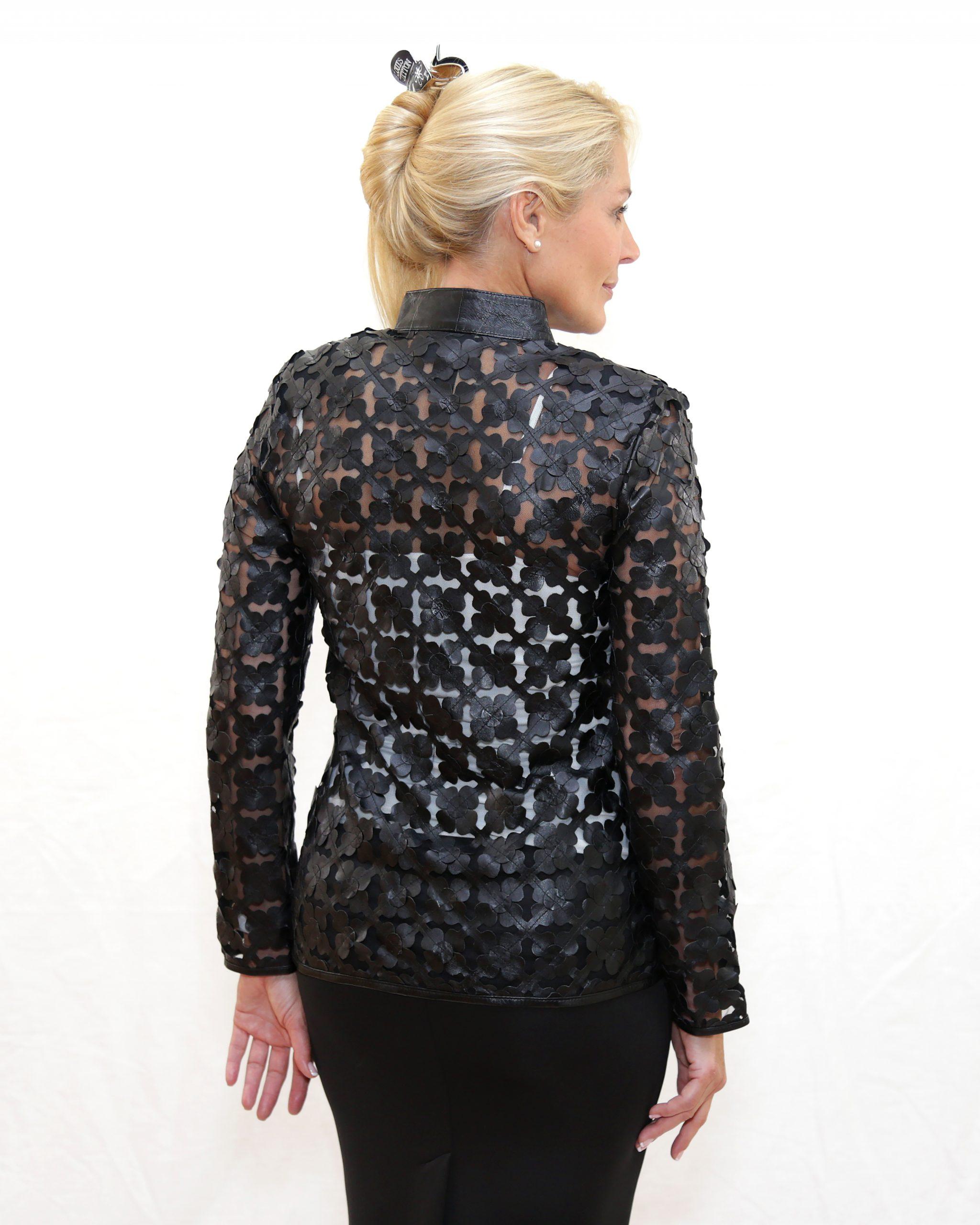 Black Perforated Leather Jacket