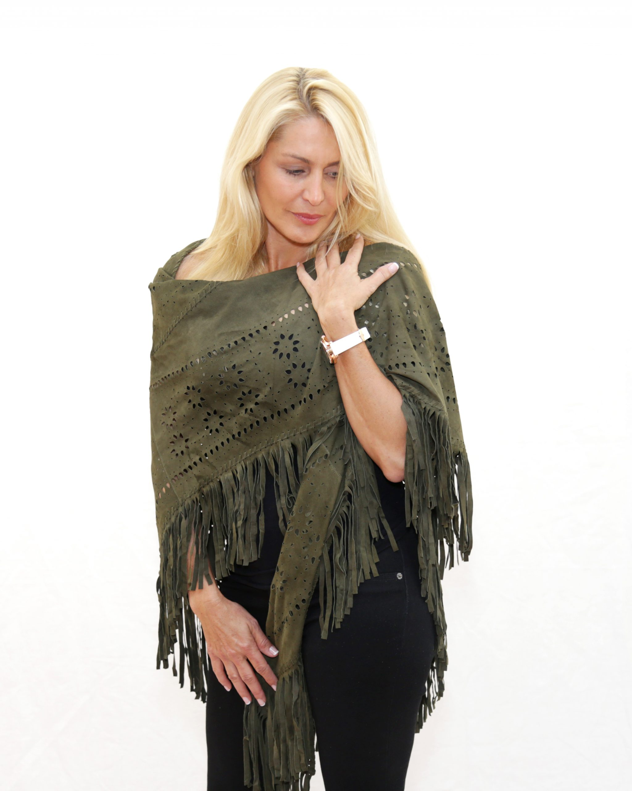 Army Green Suede Perforated Poncho with Fringe