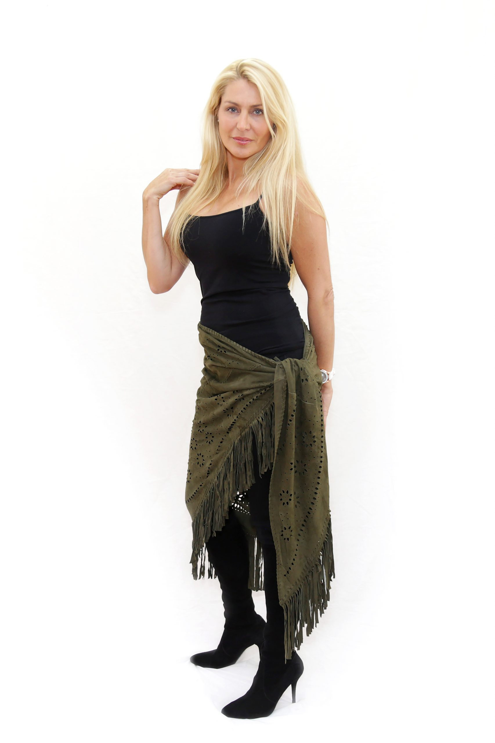 Army Green Perforated Suede Poncho - As A Skirt